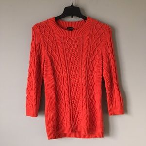 Talbots | Cable Knit Wool Sweater Orange Red M